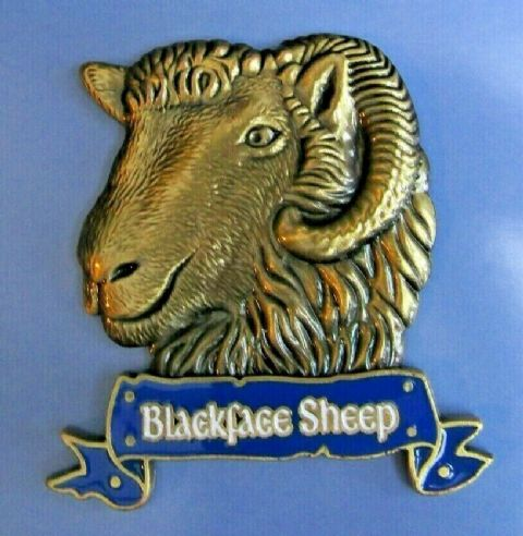 BLACKFACE SHEEP FRIDGE MAGNET HEAVY DUTY METAL 3D MAGNET IN ANTIQUE GOLD STYLE